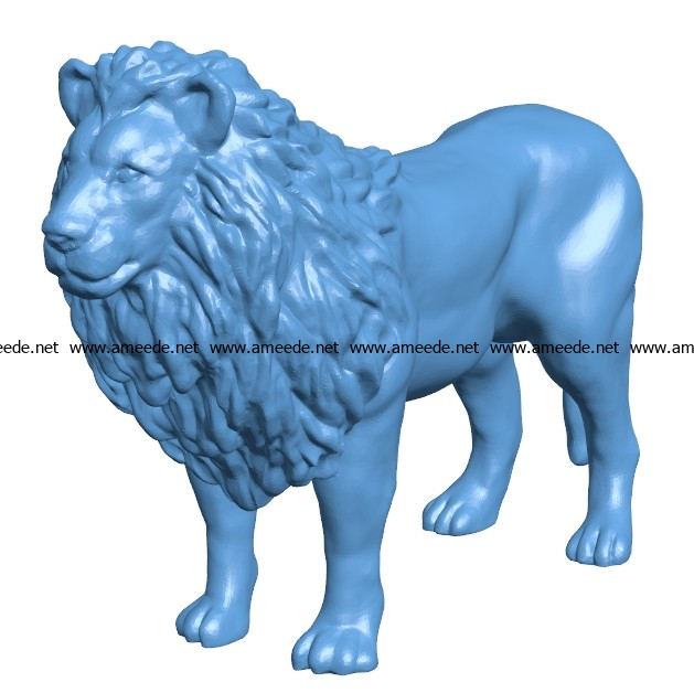 Standing lion B003413 file stl free download 3D Model for CNC and 3d printer