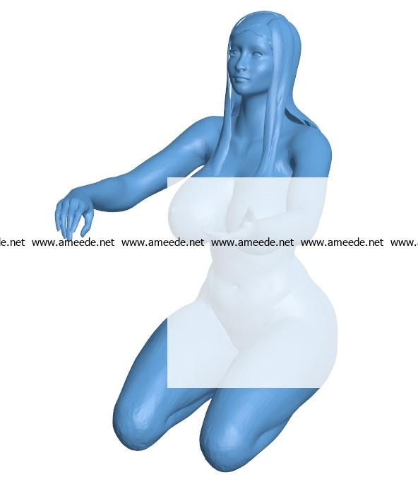 Sun Goddess Kneeling B003687 file stl free download 3D Model for CNC and 3d printer