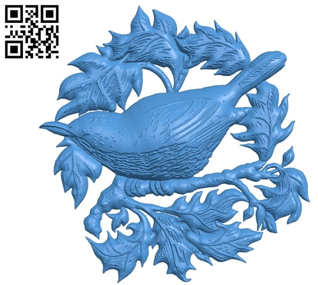 The bird perches on a tree branch A002783 wood carving file stl for Artcam and Aspire jdpaint free vector art 3d model download for CNC