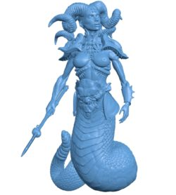 Woman Snake Princess B003728 file stl free download 3D Model for CNC and 3d printer