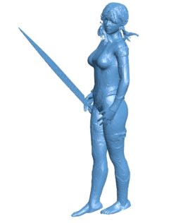 Woman sword master B003657 file stl free download 3D Model for CNC and 3d printer