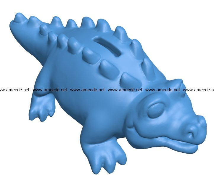 Cartoon Bank Alligator B003861 file stl free download 3D Model for CNC and 3d printer