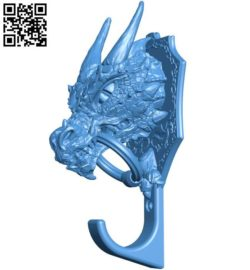 Dragon Head wall hook B004305 file stl free download 3D Model for CNC and 3d printer