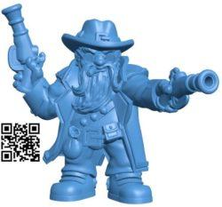 Gunslinger dwarf Man B004234 file stl free download 3D Model for CNC and 3d printer
