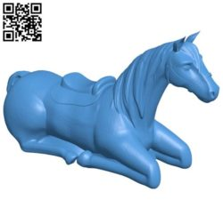 Laying horse B004239 file stl free download 3D Model for CNC and 3d printer