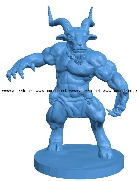 Man horned god B003844 file stl free download 3D Model for CNC and 3d printer
