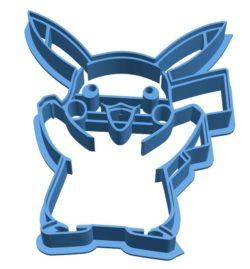 Mold pikachu cookie cutter B004024 file stl free download 3D Model for CNC and 3d printer