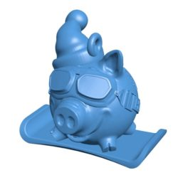 Pig Snow boarder B003973 file stl free download 3D Model for CNC and 3d printer