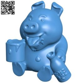 Pig with beer B004279 file stl free download 3D Model for CNC and 3d printer