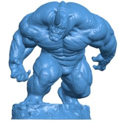 Rhino Statue With Base B003964 file stl free download 3D Model for CNC and 3d printer