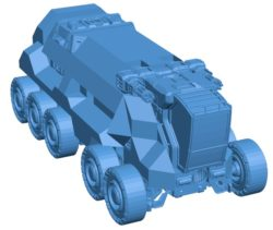 Sci-fi truck B004032 file stl free download 3D Model for CNC and 3d printer
