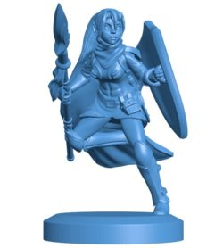 Woman Warrior elf spear maiden B004088 file stl free download 3D Model for CNC and 3d printer