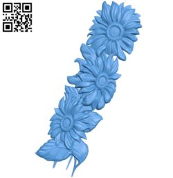 Columns of sunflowers A003397 wood carving file stl for Artcam and Aspire free art 3d model download for CNC