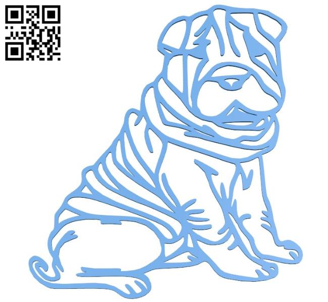 Dog Shar Pei 2D B004546 file stl free download 3D Model for CNC and 3d printer
