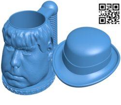 Human-shaped mug B004631 file stl free download 3D Model for CNC and 3d printer