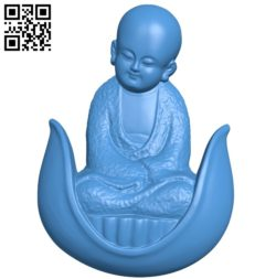 Little monk A003538 wood carving file stl for Artcam and Aspire free art 3d model download for CNC