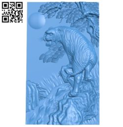 Painting of a tiger on a rocky mountain A003546 wood carving file stl for Artcam and Aspire free art 3d model download for CNC