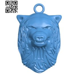 Pendant wolf head A003382 wood carving file stl for Artcam and Aspire free art 3d model download for CNC