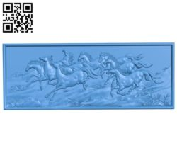 Picture of the eight horses A003389 wood carving file stl for Artcam and Aspire free art 3d model download for CNC
