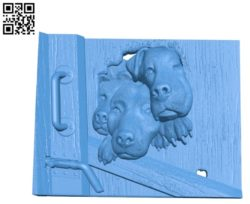 Picture the dogs behind the door A003459 wood carving file stl for Artcam and Aspire free art 3d model download for CNC