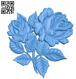 Rose branch A003398 wood carving file stl for Artcam and Aspire free art 3d model download for CNC