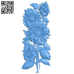 Sunflowers A003407 wood carving file stl for Artcam and Aspire free art 3d model download for CNC