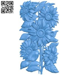 Sunflowers A003408 wood carving file stl for Artcam and Aspire free art 3d model download for CNC