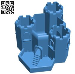 Three Tower Castle House B004489 file stl free download 3D Model for CNC and 3d printer