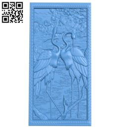 A picture of two cranes A003808 wood carving file stl free 3d model download for CNC