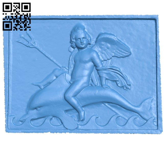 Angel rides a dolphin A003813 wood carving file stl free 3d model download for CNC