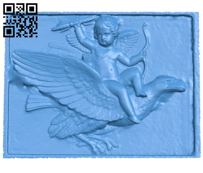 Angel riding an eagle A003814 wood carving file stl free 3d model download for CNC