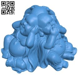 Buddha Hear see speak no evil 3 B005197 file stl free download 3D Model for CNC and 3d printer