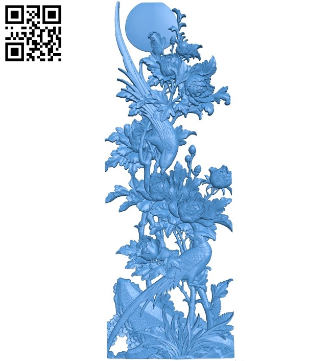 Chrysanthemum painting A003801 wood carving file stl free 3d model download for CNC