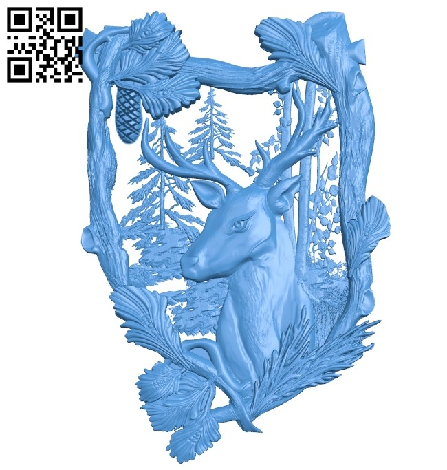 Deer picture A003807 wood carving file stl free 3d model download for CNC