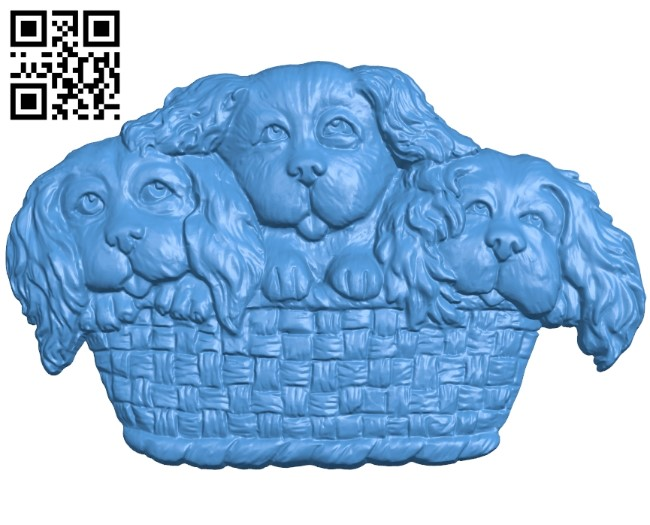 Dog spaniels in a basket A003818 wood carving file stl free 3d model download for CNC