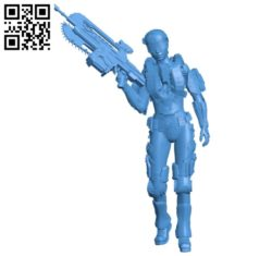 Female Soldier B004885 file stl free download 3D Model for CNC and 3d printer