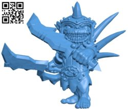 Goblin with swords B005119 file stl free download 3D Model for CNC and 3d printer