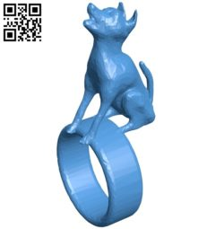 Howling wolf ring B005006 file stl free download 3D Model for CNC and 3d printer
