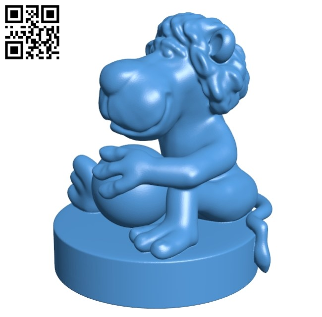 Lion with ball B005225 file stl free download 3D Model for CNC and 3d printer