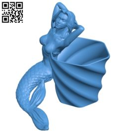 Mermaid Flower Pot B005238 file stl free download 3D Model for CNC and 3d printer