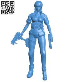 Miss Motoko with guns B004944 file stl free download 3D Model for CNC and 3d printer