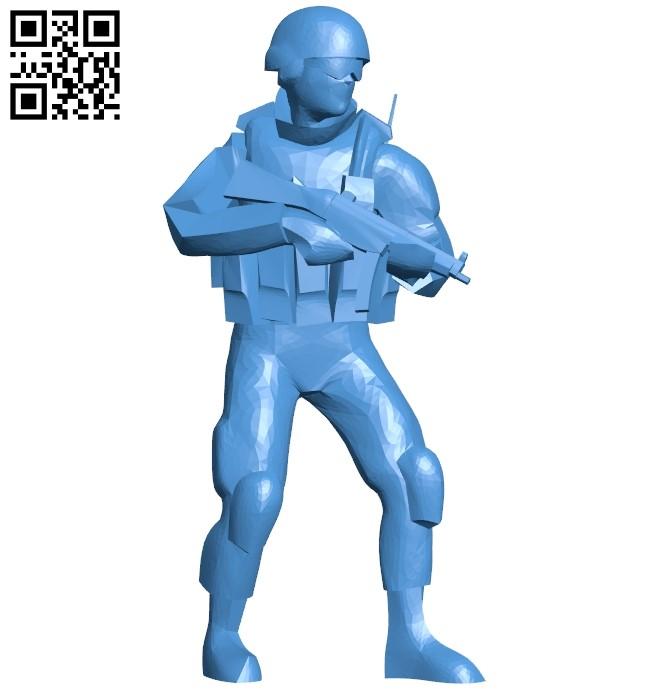 Modern soldier man B005210 file stl free download 3D Model for CNC and 3d printer