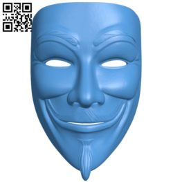 Mr V – Anonymous mask B005199 file stl free download 3D Model for CNC and 3d printer