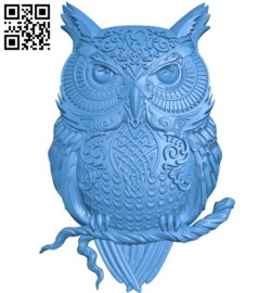 Owl pattern A003714 wood carving file stl for Artcam and Aspire free art 3d model download for CNC