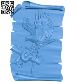 Painting of an eagle catching a snake A003812 wood carving file stl free 3d model download for CNC