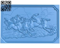 Picture of the eight horses A003820 wood carving file stl free 3d model download for CNC