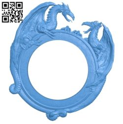 Round dragon frame A003728 wood carving file stl for Artcam and Aspire free art 3d model download for CNC