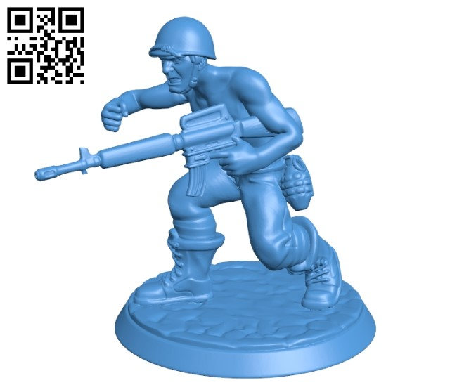 Soldier with gun B004907 file stl free download 3D Model for CNC and 3d printer