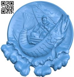 Sturgeon fishing A003811 wood carving file stl free 3d model download for CNC