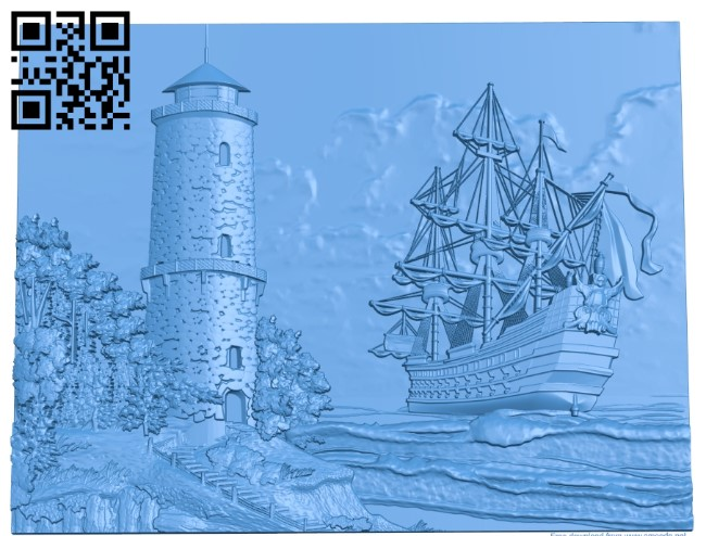 The ship and the lighthouse A003803 wood carving file stl free 3d model download for CNC